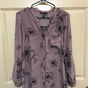 F21 PURPLE FLOWER TUNIC